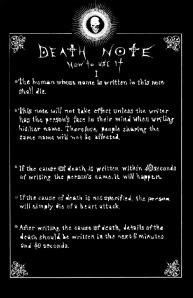 deaht note. instrucciones